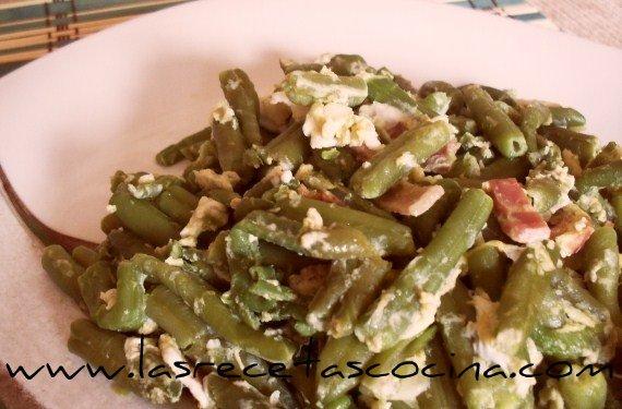 judías verdes con huevo y bacon 2 Judías verdes con huevo y bacon, saludable cena con sabor
